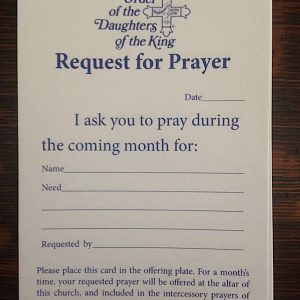 Prayer Request Pew Card